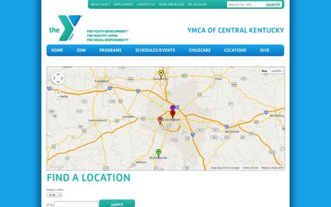 Screenshot of Locations Page ymcacky.org - Locations - YMCA of Central Kentucky - captured Oct. 3, 2014