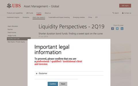 Screenshot of Team Page ubs.com - Liquidity Perspectives - 2Q19 | UBS Global topics - captured Nov. 14, 2019