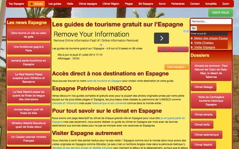 Screenshot of Home Page espagne-visite.com - Visite Espagne plages climat et villes - captured Sept. 24, 2014