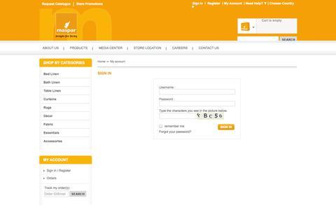 Screenshot of Login Page maspar.com - My account - Online Shopping Store- Home Furnishings and Woven Fabrics| Maspar - captured Oct. 27, 2014