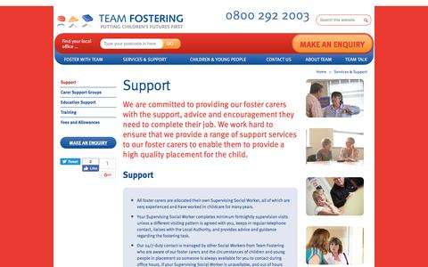 Screenshot of Support Page teamfostering.co.uk - Fostering  Allowance - Fostering Benefits | Team Fostering - Team Fostering - captured June 18, 2017
