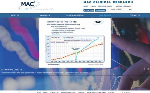 Screenshot of Case Studies Page macplc.com - Clinical trials case studies | MAC - captured Nov. 17, 2016