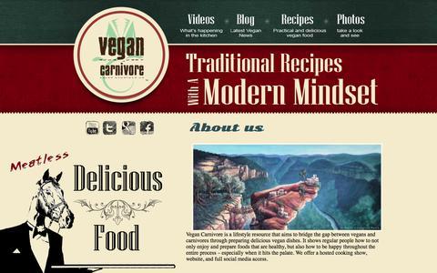 Screenshot of About Page vegancarnivore.com - About us   Vegan Carnivore - captured Feb. 19, 2020