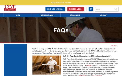 Screenshot of FAQ Page tapinsulation.com - FAQs - TAP® Pest Control Insulation - captured Sept. 21, 2018
