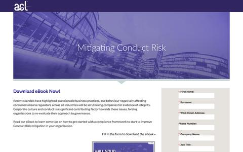 Screenshot of Landing Page acl.com - Conduct Risk eBook - captured June 17, 2016