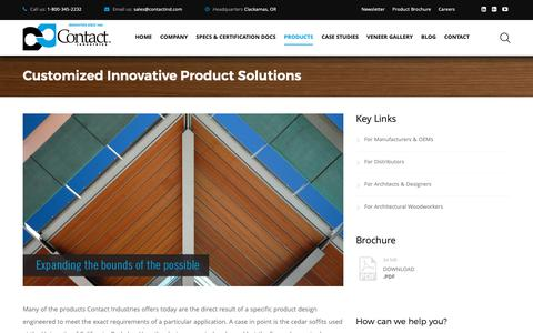 Screenshot of Products Page contactind.com - Customized Innovative Product Solutions - Contact Industries - captured Nov. 11, 2018