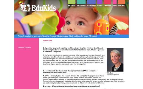 Screenshot of FAQ Page edukidsinc.com - FAQs about Edukids WNY Learning Centers - captured Oct. 2, 2014
