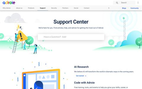 Screenshot of Support Page adroie.com - Support Services | Adroie - captured July 29, 2018