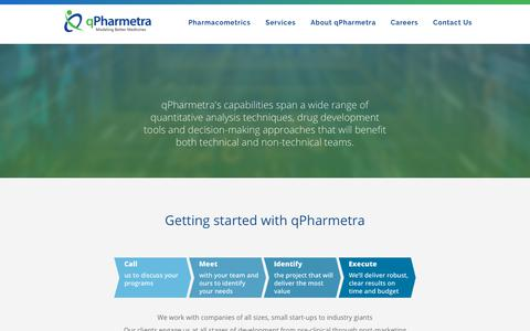 Screenshot of Services Page qpharmetra.com - Getting started with qPharmetra | Services | qPharmetra - captured July 25, 2018