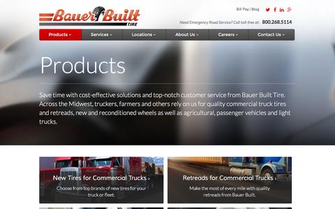 Screenshot of Products Page bauerbuilt.com - Tire Replacement - Tire Shop - captured Feb. 7, 2016