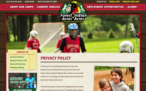 Screenshot of Privacy Page indianacres.com - Privacy Policy | Indian Forest Acres - captured Oct. 1, 2014