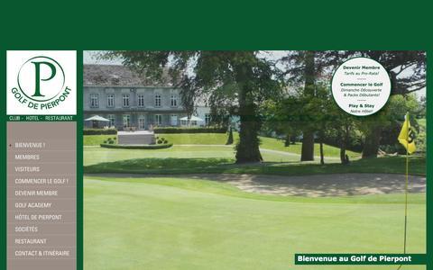 Screenshot of Home Page pierpont.be - Bienvenue ! - Golf de Pierpont - captured Oct. 2, 2014