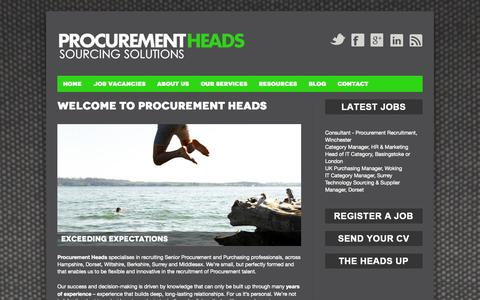 Screenshot of Home Page procurementheads.com - Procurement Jobs Hampshire, Purchasing Jobs Dorset, Wiltshire, Berkshire, Surrey & Middlesex, Recruitment | Procurement Heads - captured Sept. 30, 2014