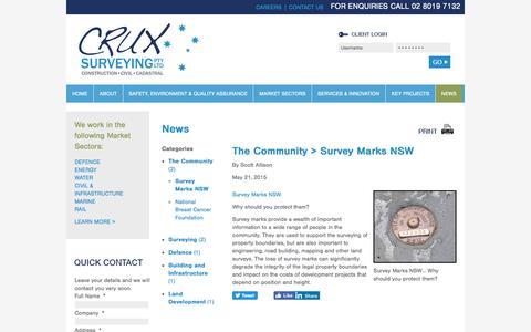 Screenshot of Press Page cruxsurveying.com.au - Survey Marks NSW - News - Crux Surveying Pty Ltd - captured Nov. 14, 2016