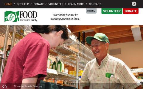 Screenshot of Home Page foodforlanecounty.org - FOOD For Lane County | Food Bank in Oregon - captured Feb. 9, 2016