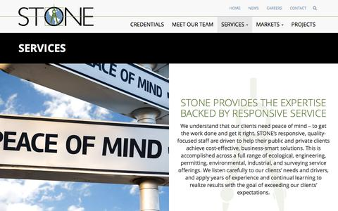 Screenshot of Services Page stoneenvironmental.com - Services - STONE - captured Oct. 25, 2017