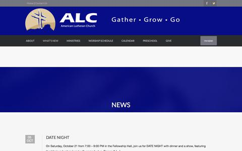 Screenshot of Press Page americanlutheran.net - News | AMERICAN LUTHERAN CHURCH - captured Oct. 8, 2017