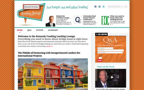 Screenshot of Home Page kennedyfundinglendinglounge.com - Kennedy Funding Lending Lounge - Just hangin' out and talkin' lending. - captured Sept. 20, 2018