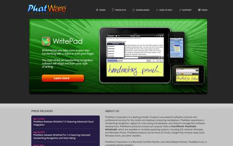 Screenshot of Home Page phatware.com - PhatWare Corp. | Handwriting Recognition Software & WritePad SDK for iPad, iPhone, Android and Windows - captured Sept. 19, 2014