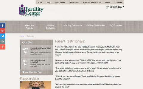 Screenshot of Testimonials Page fertilitysa.com - Fertility Patient Testimonials San Antonio - captured Nov. 25, 2016