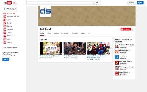 Screenshot of YouTube Page youtube.com - 4drinkstuff  - YouTube - captured Oct. 25, 2014