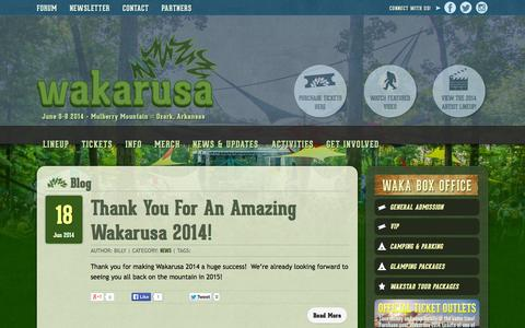 Screenshot of Blog wakarusa.com - Blog - Wakarusa Music Festival - captured Sept. 26, 2014