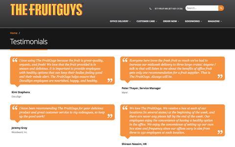 Screenshot of Testimonials Page fruitguys.com - Testimonials | The FruitGuys - captured Aug. 28, 2017