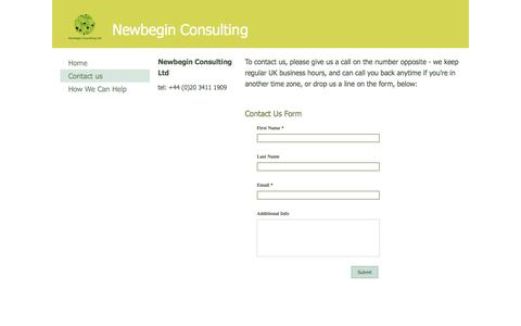 Screenshot of Contact Page newbegin.co.uk - Contact us - captured Oct. 9, 2014
