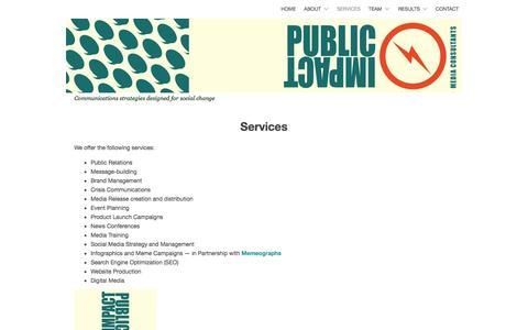 Screenshot of Services Page publicimpactpr.com - Services | PUBLIC IMPACT - captured Oct. 3, 2014