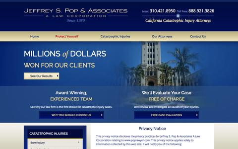 Screenshot of Privacy Page poplawyer.com - Privacy Policy | Jeffrey S. Pop & Associates - captured Oct. 4, 2014