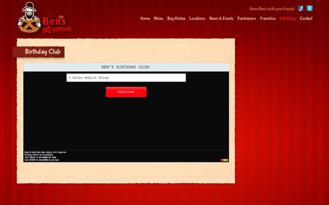 Screenshot of Signup Page benspretzels.com - Ben's Pretzels text club signup - captured Feb. 7, 2016