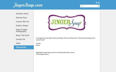 Screenshot of Testimonials Page jingersnap.com - Testimonials - JingerSnap.com - captured Sept. 30, 2014
