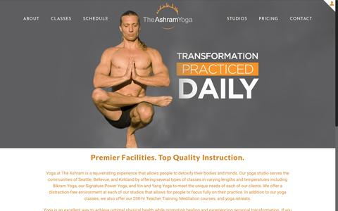 Screenshot of Home Page theashramyoga.com - Ashtanga, Bikram, Vinyasa Flow & Hot Yoga | The Ashram Yoga - captured July 13, 2018