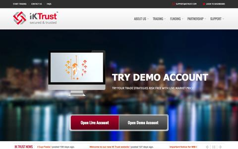 Screenshot of Home Page iktrust.com - IK Trust | Secured & Trusted FOREX Broker - Forex, CFD, Precious Metal - captured Sept. 23, 2014
