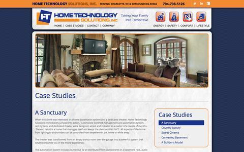 Screenshot of Case Studies Page hometechnologysolutions.com - A Sanctuary - Home Technology Solutions - captured Sept. 30, 2014