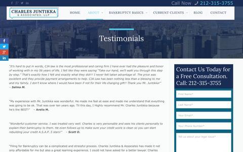 Screenshot of Testimonials Page cjalaw.com - Testimonials - Charles Juntikka & AssociatesCharles Juntikka & Associates - captured Jan. 27, 2016