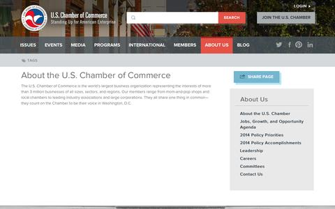 Screenshot of About Page uschamber.com - About the U.S. Chamber of Commerce | U.S. Chamber of Commerce - captured Sept. 19, 2014