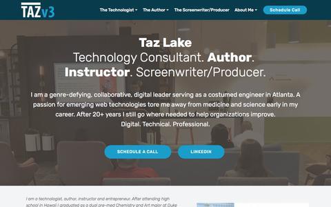 Screenshot of About Page tazlake.com - Taz Lake - About Me - captured Nov. 14, 2019