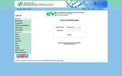 Screenshot of Login Page nano.org.uk - Institute of Nanotechnology - members login - captured Oct. 6, 2014