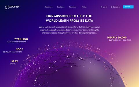 Screenshot of About Page mixpanel.com - About Us   Helping the World Learn from its Data   Mixpanel - captured May 10, 2018
