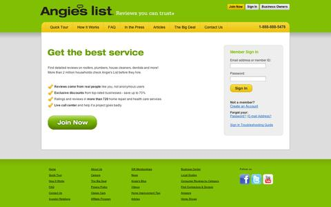 Screenshot of Login Page angieslist.com - Angie's List Member Sign in | Reviews you can Trust - captured Sept. 11, 2014