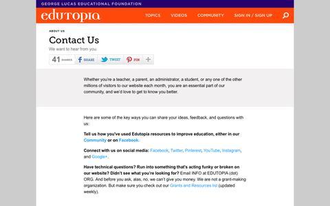 Contact Us | Edutopia