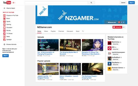 Screenshot of YouTube Page youtube.com - NZGamer.com  - YouTube - captured Nov. 1, 2014