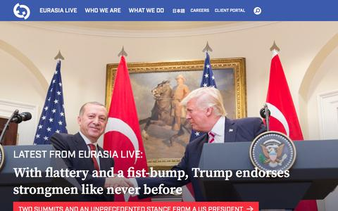 Screenshot of Home Page eurasiagroup.net - Eurasia Group | Home - captured July 21, 2018