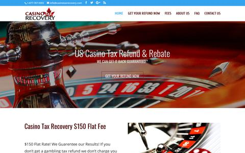 Screenshot of Home Page casinotaxrecovery.com - Casino Rebate Flat Fee | Casino Tax Refund & US Tax Recovery | Refund Management - captured July 16, 2018