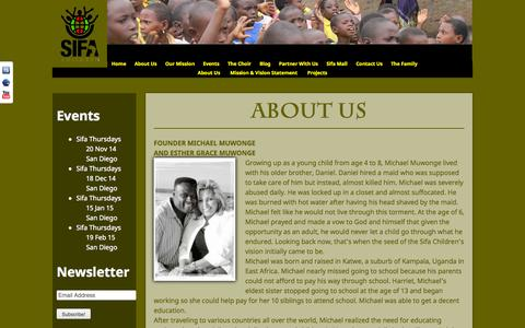 Screenshot of About Page sifachildren.org - About Sifa Children Family - captured Oct. 26, 2014