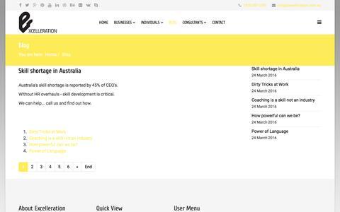 Screenshot of Blog excelleration.com.au - Excelleration - Formulas for excelleration at work and in life - Blog - captured Nov. 13, 2016