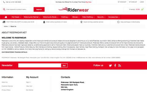 Screenshot of About Page riderwear.net - About  Us - captured June 30, 2017