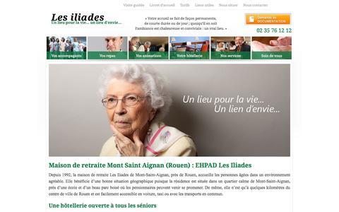 Screenshot of Home Page les-iliades.fr - Maison de retraite à Mont Saint Aignan Rouen : EHPAD Les Iliades - captured Oct. 16, 2015