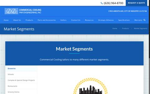 Screenshot of Products Page commercialcooling.com - Market Segments | Commercial Cooling - captured Nov. 10, 2016